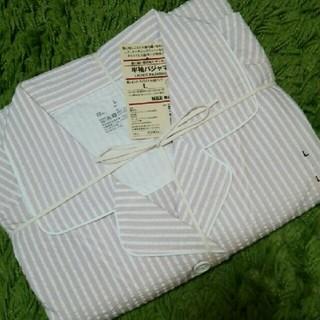 ムジルシリョウヒン(MUJI (無印良品))の ◆新品◆ 無印良品 脇に縫い目のないサッカー半袖パジャマ/ピンクストライプ/L(パジャマ)