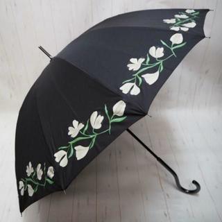 シビラ(Sybilla)のSybilla シビラ 12本骨 長傘 雨傘☆花柄 ブラックxホワイト(傘)
