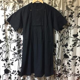 ワイズ(Y's)のワイズフォーリビング 半袖チュニック 黒 フリーサイズ(チュニック)