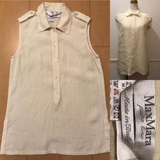 マックスマーラ(Max Mara)のMax Mara マックスマーラ リネン100 麻シャツ 袖なし ノースリーブ(シャツ/ブラウス(半袖/袖なし))