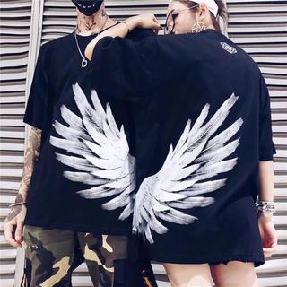 翼 羽根柄 ビッグサイズTシャツ トレンド 2018fll