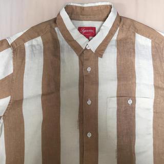 Supreme - 送料込 Supreme M Wide Stripe Shirt ブラウン