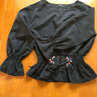 しまむら - コルセット風ブラウス 黒 刺繍ブラウス