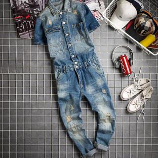 オーバーオール  メンズ 夏 半袖つなぎ デニム パンツ 青色(サロペット/オーバーオール)