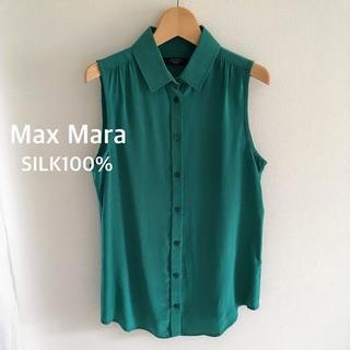 マックスマーラ(Max Mara)のマックスマーラノースリーブ シャツ シルク100% サイズS(シャツ/ブラウス(半袖/袖なし))