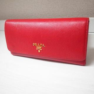 プラダ(PRADA)の正規品♡最安値♡プラダ 長財布 サフィアーノレザー 赤 バッグ 財布 小物(財布)