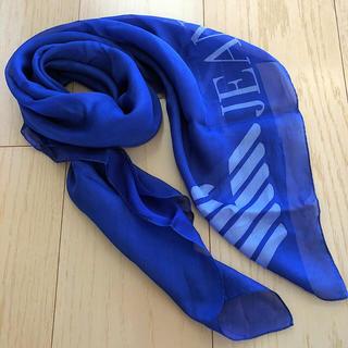 アルマーニジーンズ(ARMANI JEANS)のイタリアで購入‼︎ アルマーニ☆ 鮮やかなブルー ストール スカーフ(バンダナ/スカーフ)