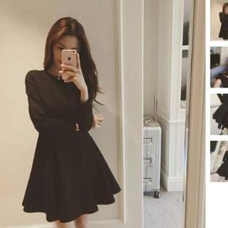 【Lサイズ/ブラック/長袖】プリンセス ドレス ワンピース ミニスカート レディ(その他)