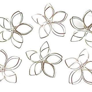 ワイヤー コイルチャーム 花形 6個 フラワー ピアス 透かし レジン パーツ (型紙/パターン)
