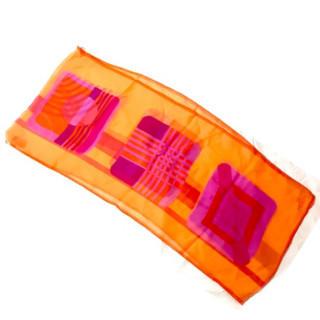新品 シルク100% オレンジ ピンク ストール(ストール)