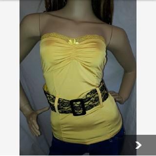 アナップラティーナ(ANAP Latina)のANAP USA レース ベルト付 ベアトップ 黄色 イエロー   (ベアトップ/チューブトップ)