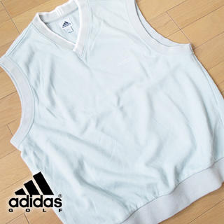 アディダス(adidas)の美品 Lサイズ アディダス ゴルフ ベスト ライトブルー(ウエア)