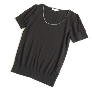 ナチュラルビューティーベーシック(NATURAL BEAUTY BASIC)の春夏 NATURAL BEAUTY BASIC サマーニット 半袖 ブラック 黒(カットソー(半袖/袖なし))
