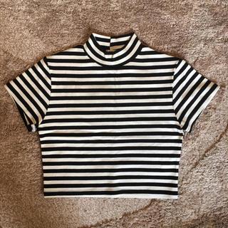 ラグナムーン(LagunaMoon)のLagnamoon ラグナムーン ♡ ボーダー ハイネックTシャツ(Tシャツ(半袖/袖なし))