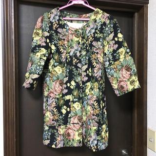 ラグナムーン(LagunaMoon)のジャガード織七分袖ジャケットコート(ノーカラージャケット)