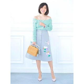 チェスティ(Chesty)のひーちゃん様ご専用♡チェスティ フラワーモチーフスカート ライトグレー(ひざ丈スカート)