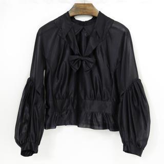 COMME des GARCONS - コムデギャルソン シースルー リボン ブラウス シャツ 丸襟 ブラック