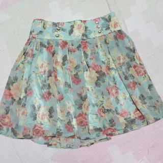 バイバイ(ByeBye)のお上品 ミントグリーンの花柄ミニスカート(ミニスカート)