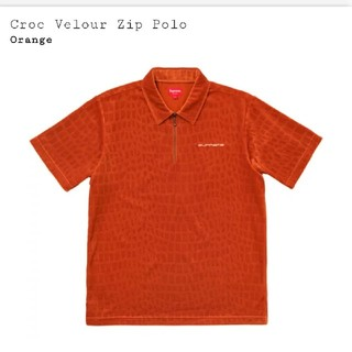 シュプリーム(Supreme)のSupreme croc velour zip polo  orange (スウェット)