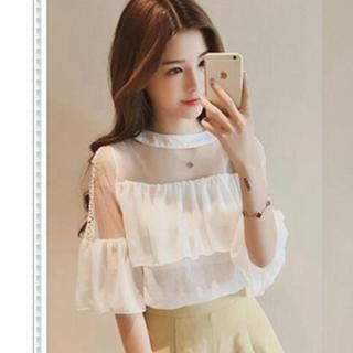 韓国ファッション シースルー ブラウスフリル(カットソー(半袖/袖なし))