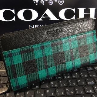 コーチ(COACH)のプレゼントにも❤️新品コーチ正規品 F55431グリーン チェック柄 (財布)