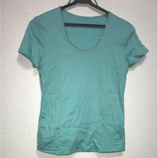 首元ラインストーンTシャツ(Tシャツ(半袖/袖なし))