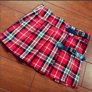 ジェニィ(JENNI)のSister JENNI 赤 チェック ミニスカート 95サイズ(スカート)