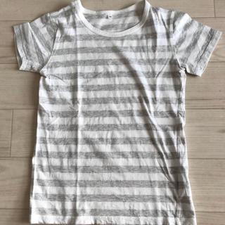 ムジルシリョウヒン(MUJI (無印良品))の無印 ボーダー 白×グレー 150(Tシャツ/カットソー)