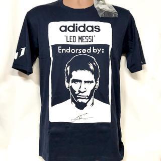 アディダス(adidas)の新品 紺 紙タグ付き adidas×メッシ コラボ 限定Tシャツ(Tシャツ/カットソー(半袖/袖なし))