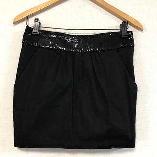 ザラ(ZARA)の美品☆ウエストスパンコールBLACKスカート(ミニスカート)