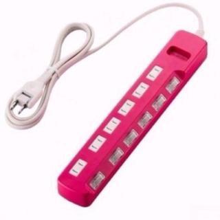 延長コード2m 電源タップ  ELECOM pink(変圧器/アダプター)