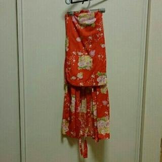 ユニクロ(UNIQLO)の子供服 女の子 ユニクロ GIRLS ゆかた 赤 110サイズ 浴衣(甚平/浴衣)