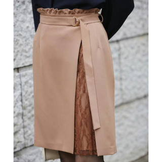 トゥエルブアジェンダ(12Twelve Agenda)の【新品タグ付】12twelve agendaインナープリーツレースタイトスカート(ひざ丈スカート)