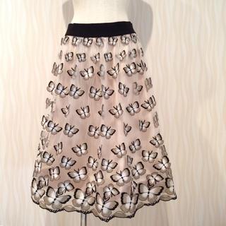 新品タグ付き alice+olivia バタフライ 刺繍 チュール スカートの