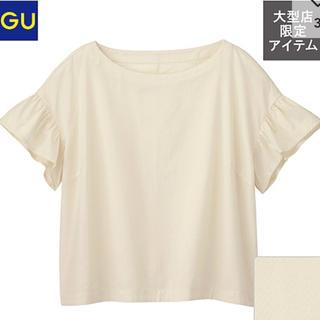 ジーユー(GU)のラッフルボクシーブラウス フリルスリーブ S(シャツ/ブラウス(半袖/袖なし))
