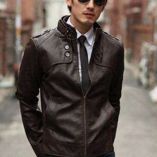 メンズ ライダース革ジャケット 防寒ブルゾン (ダークブラウン XLサイズ)(ライダースジャケット)