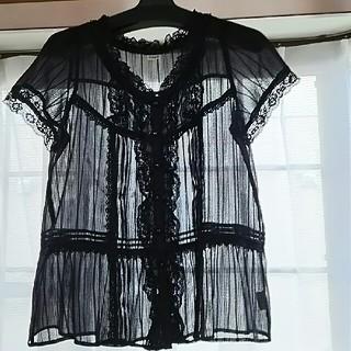 アクシーズファム(axes femme)の黒の透け感ブラウス(シャツ/ブラウス(半袖/袖なし))