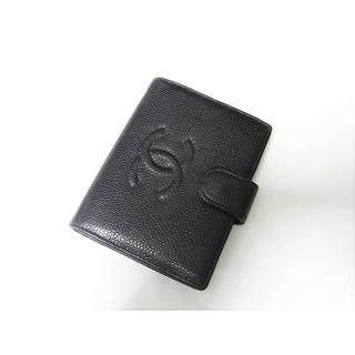 シャネル(CHANEL)の☆良品☆シャネル キャビアスキン ガマ口小銭入れ付き折り財布 ブラック(財布)