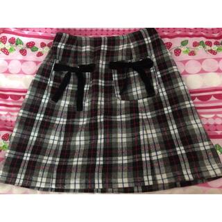 アンクルージュ(Ank Rouge)のAnk Rouge リボン付きポケット チェック柄スカート(ミニスカート)