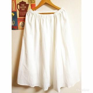 アンナルナ(ANNA LUNA)のナチュラル大人カジュアル シンプル膝下丈ゆるふわスカート 白 アンティークレトロ(ひざ丈スカート)