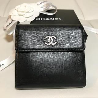 シャネル(CHANEL)の美品!CHANEL キャビアスキン 折り財布(財布)