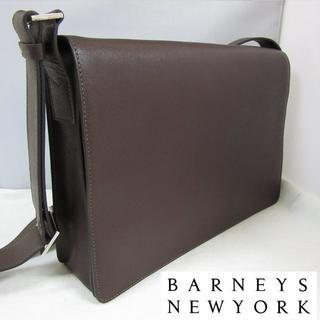 バーニーズニューヨーク(BARNEYS NEW YORK)の新品 Barneys サフィアーノレザー メッセンジャーバッグ ダークブラウン(メッセンジャーバッグ)