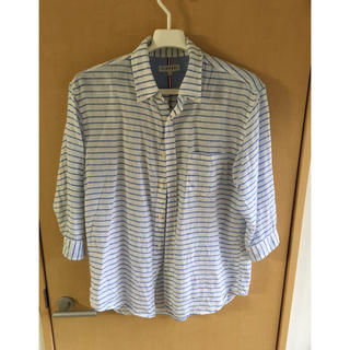 シマムラ(しまむら)のCLOSSHI 七分袖シャツ XLサイズ リネン 麻 夏ボーダー(シャツ)