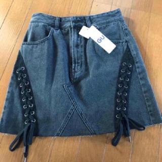 ジーユー(GU)の【新品未使用】GU デニムレースアップスカート(ミニスカート)