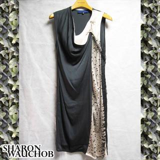 シャロンワコブ(Sharon Wauchob)の新品未使用 シャロンワコブ シルクドレス ブラック×ピンクベージュ(ひざ丈ワンピース)
