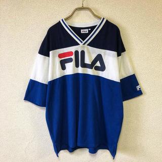 【90s】FILA LOGO TEE L メンズ クレイジーパターン 古着