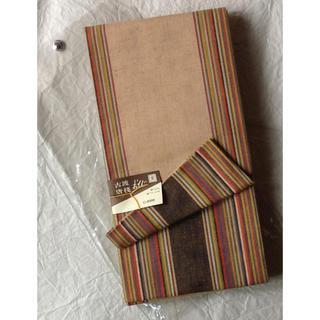 綿 半幅帯 薄茶 縞 リバーシブル 新古品(浴衣帯)