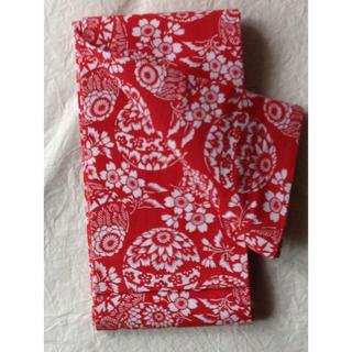 綿 半幅帯 赤 手毬 美品(浴衣帯)