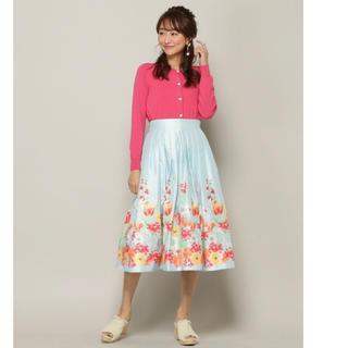 アンドクチュール(And Couture)のHANYシャンタンパネル花柄フレアスカート アンドクチュール(ひざ丈スカート)