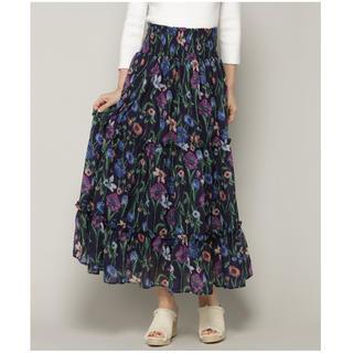 アンドクチュール(And Couture)のAnd Couture シフォンボタニカルプリントスカート アンドクチュール(ロングスカート)